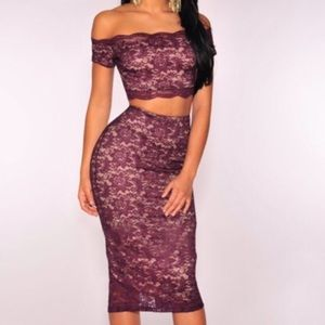 Plum Lace Off the Shoulder Skirt Set